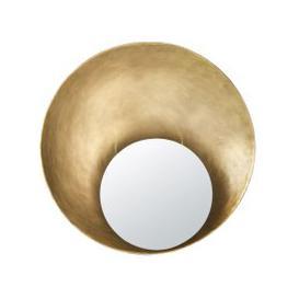 image-Round Golden Concave Metal Mirror D90