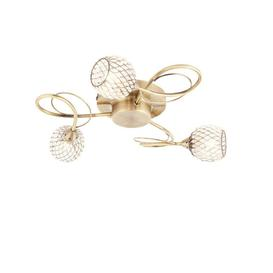 image-Endon 73758 Aherne Three Light Semi Flush Ceiling Light In Antique Brass Plate And Clear Bead Shades
