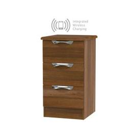 image-Camden Noche Walnut 3 Drawer Bedside Cabinet with Integrated Wireless Charging