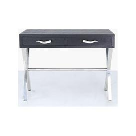 image-Lecco Black Faux Snakeskin and Chrome Console Table