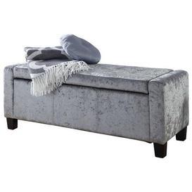 image-Verona Crushed Velvet Ottoman Grey