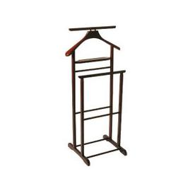 image-Dual Rail Wooden Valet Stand in Tobacco