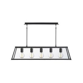 image-Voyager 5 Light Lantern In Matt Black And Clear Glass Shade