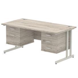 image-Zetta Executive Desk Ebern Designs Frame Colour: Grey, Size: 73cm H x 160cm W x 80cm D
