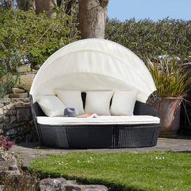 image-Coretta Garden Daybed with Cushions Sol 72 Outdoor Colour (Frame): Black, Cover included: No