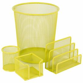 image-Mesh Desk Organiser Set Symple Stuff Colour: Yellow