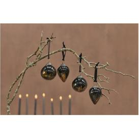 image-Set of 4 Aged Amber and Black Danoa Baubles