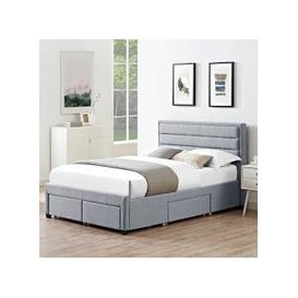 image-Brayden Contemporary Fabric Storage King Size Bed In Grey