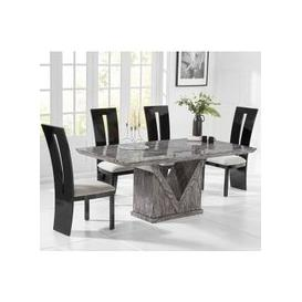 image-Belcher Large Grey Marble Dining Table With Six Ophelia Chairs