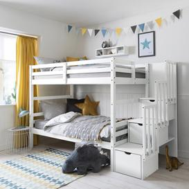 image-Maya Bunk Bed with Built in Storage in Classic White