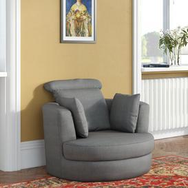 image-Delanie Larger Swivel Tub Chair Rosdorf Park Upholstery Colour: Grey