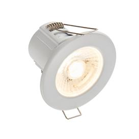 image-8W SMD LED Fire Rated Downlight, Dimmable, IP65 Rated, Matt White Finish - Warm Light 3000K.