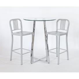 image-Shara 3 Piece Pub Table Set Metro Lane Colour: Silver