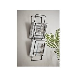 image-Industrial Wall Magazine Rack
