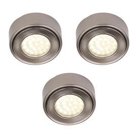 image-Pack of 3 Circular LED Under Cabinet Light Warm White - Satin Nickel