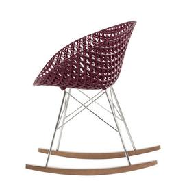 image-Smatrik Rocking chair - / Wooden furniture glides by Kartell Chromed,Oak,Plum