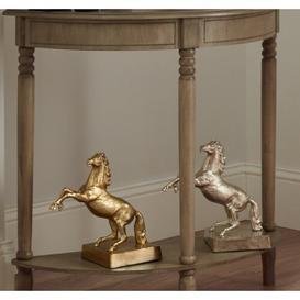 image-Gold Metal Rearing Horse Statue Rosalind Wheeler