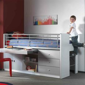 image-Briggs European Single Mid Sleeper Bed with Desk Isabelle & Max Colour: Silver grey