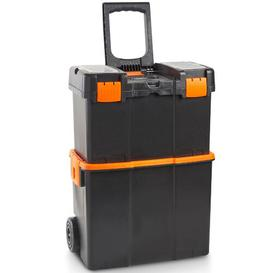 image-VonHaus Roller Tool Box with Stackable Boxes  Secure Mobile Work Centre / Storage Unit / Organiser / Chest / Trolley / Cart for Tools with Lockable C