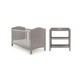 image-Obaby Whitby Cot Bed 2 Piece Nursery Set in Taupe Grey