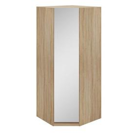 image-Hampton Corner Mirrored Wardrobe Brown