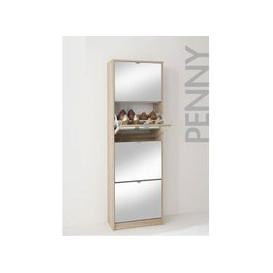 image-Tall Wooden Shoe Cabinet With Mirrors In Oak