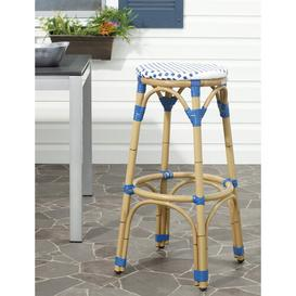 image-Rennert 76.2cm Bar Stool Sol 72 Outdoor Colour: Blue/White