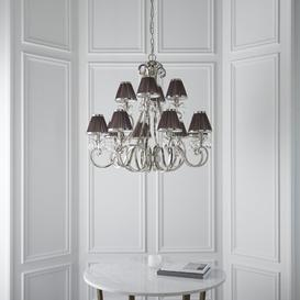 image-Conlon 12-Light Shaded Chandelier Astoria Grand Base Finish: Nickel, Shade Colour/Pattern: Chocolate