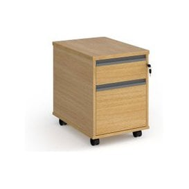 image-Value Line Classic+ 2 Drawer Mobile Pedestal (Graphite Slats), Oak, Free Next Day Delivery
