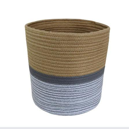 image-Large Monochrome Rope Basket Natural