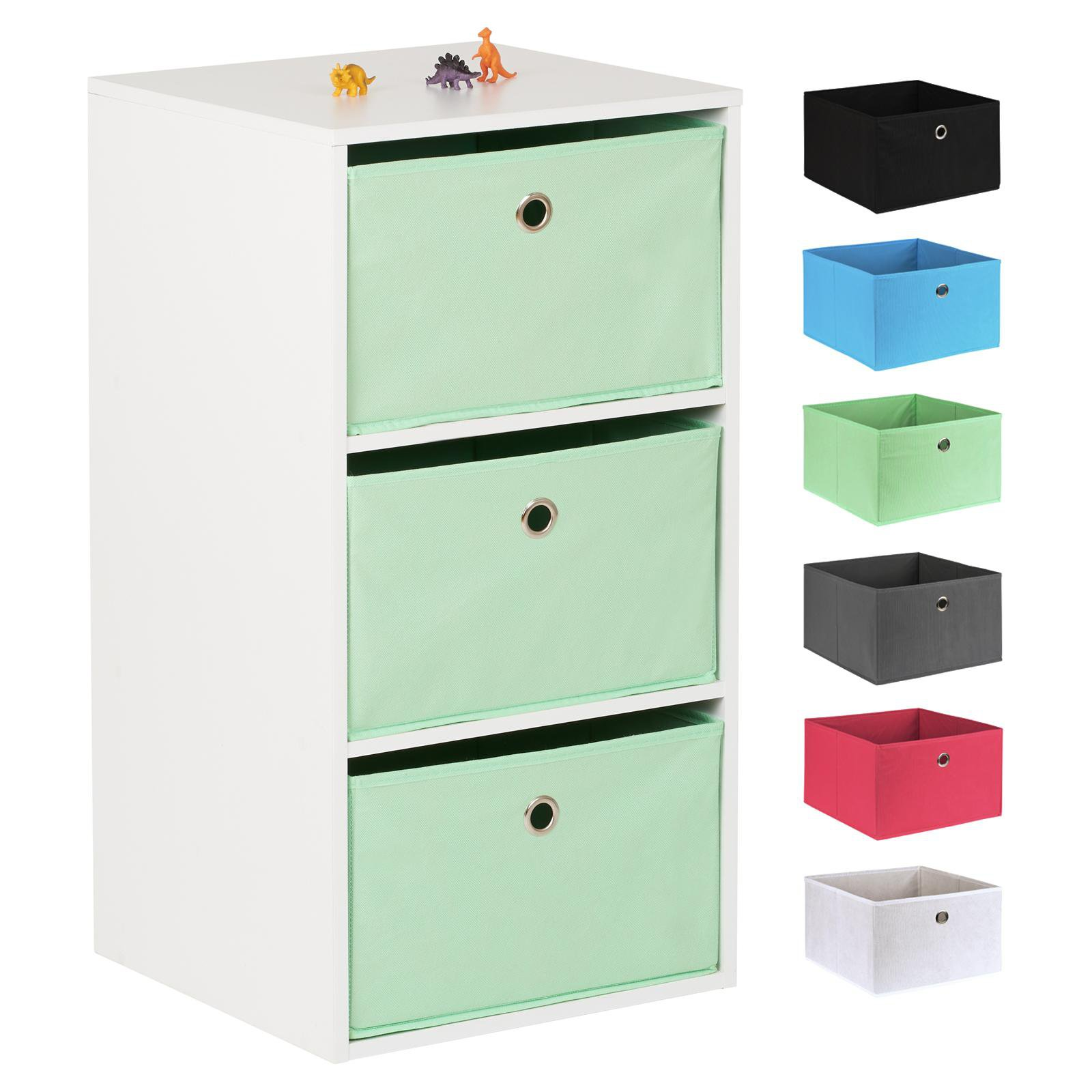 image-Hartleys White 3 Cube Kids Storage Unit & 3 Easy Grasp Box Drawers - Mint