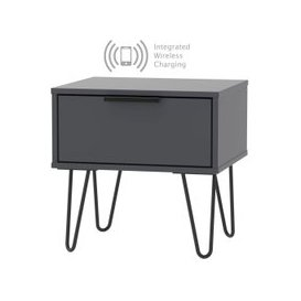 image-Hong Kong Graphite 1 Drawer Bedside Cabinet with Hairpin Legs and Integrated Wireless Charging