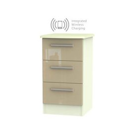 image-Knightsbridge 3 Drawer Bedside Cabinet with Integrated Wireless Charging - High Gloss Mushroom and Cream