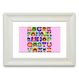 image-'Alphabet Children' Framed Graphic Art in Pink East Urban Home Size: 93 cm H x 126 cm W, Frame Options: White