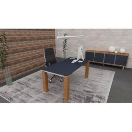 image-Brigitte Executive Desk Ebern Designs Colour (Top/Frame): Titanium/Brown, Size: 72cm H x 200cm W x 100cm D
