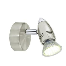 image-Eglo 92641 Magnum-LED 1 Light Wall Spotlight In Satin Nickel And Chrome