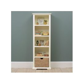 image-Farmhouse Painted Tall Slim Bookcase - Ivory