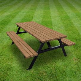 image-Pollak Picnic Table Sol 72 Outdoor Finish: Rustic Brown, Table Size: 180cm L x 140cm W