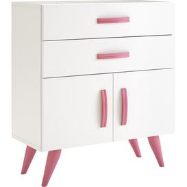 image-Pamplona 2 Drawer Chest of Drawers Just Kids Finish: Lacquered White / Pink