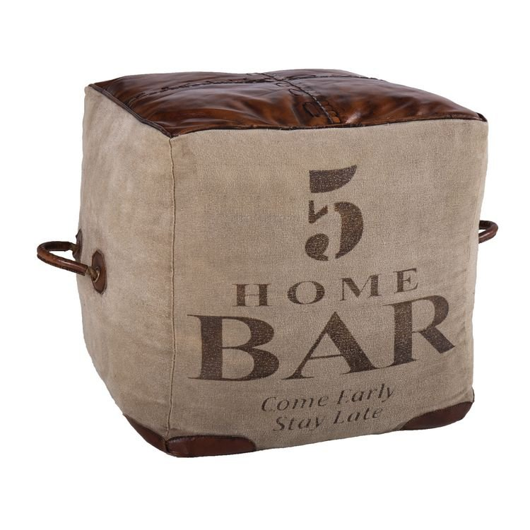 image-Eclectic Leather and Fabric Furniture Dark Brown Square Pouffe