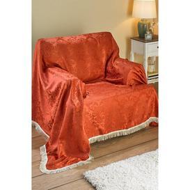 image-Ascot Damask Fringed Sofa Cover