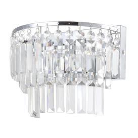 image-Vasca 2 Light Crystal Bar Bathroom Wall Light - Chrome