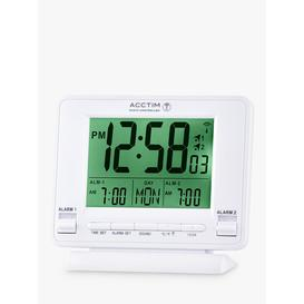 image-Acctim Delaware Couples Radio Controlled LCD Digital Alarm Clock, White