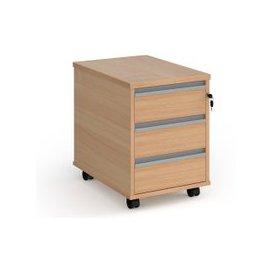image-Value Line Classic+ 3 Drawer Mobile Pedestal (Silver Slats), Beech, Free Delivered & Fully Installed Delivery