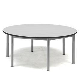 image-Desk SONITUS, round, ├ÿ 1200x500 mm, grey laminate, alu grey