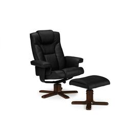 image-Marquesa Covered Steel Framework Black Leather Recliner&amphellip