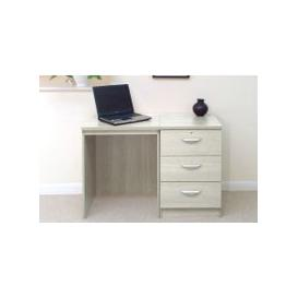 image-Small Office Desk Set With 3 Media Drawers (Grey Nebraska)