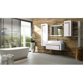 image-Aloha 3-Piece Bathroom Furniture Set Vladon Body and front colour: White/Rough-hewn oak, With mirror: No, Orientation: With sink and tap