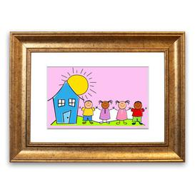 image-'Happy Children in the Sun' Framed Graphic Art in Pink East Urban Home Size: 50 cm H x 70 cm W, Frame Options: Gold