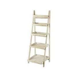 image-Whitewashed Fir Wood Ladder Shelf